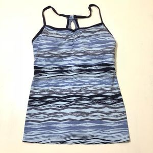 Lucy Size Large Built-In Bra Blue Workout Tank Top